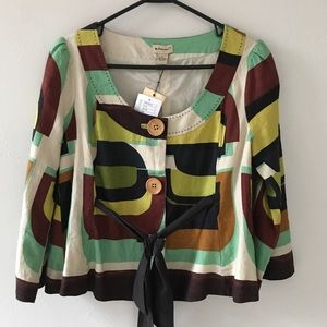 NWT Anthropologie Linen Belted Jacket, Sz 8/M